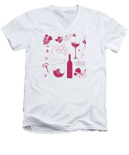 Wine Background Pattern Men's V-Neck T-Shirt by Serena King