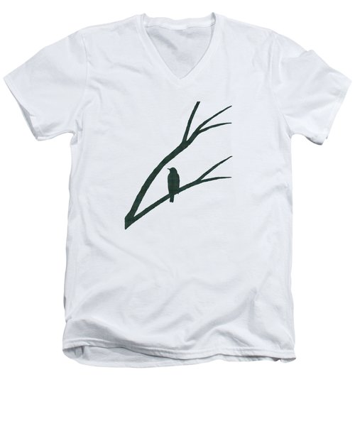 Green Bird Silhouette Plaid Bird Art Men's V-Neck T-Shirt by Christina Rollo