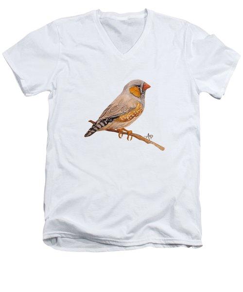 Zebra Finch Men's V-Neck T-Shirt by Angeles M Pomata
