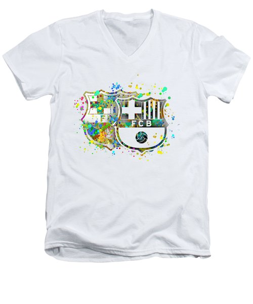 Tribute To F C Barcelona 7 Men's V-Neck T-Shirt by Alberto RuiZ