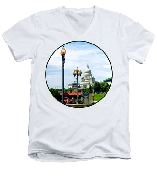 Capitol Building Seen From Waterplace Park Men's V-Neck T-Shirt by Susan Savad