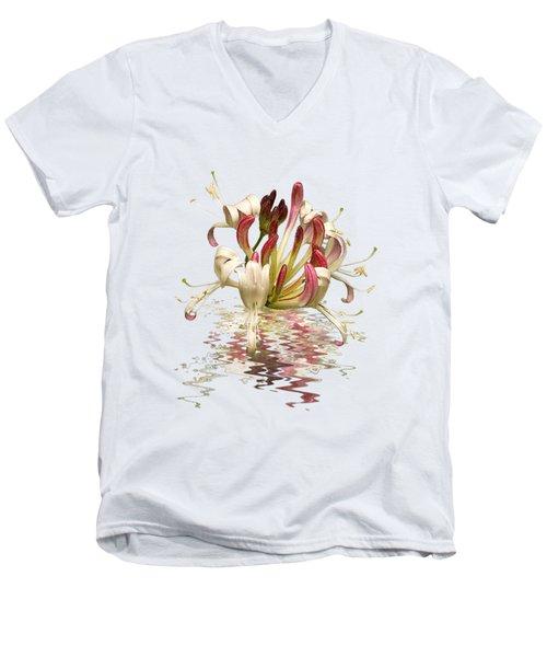 Honeysuckle Reflections Men's V-Neck T-Shirt by Gill Billington