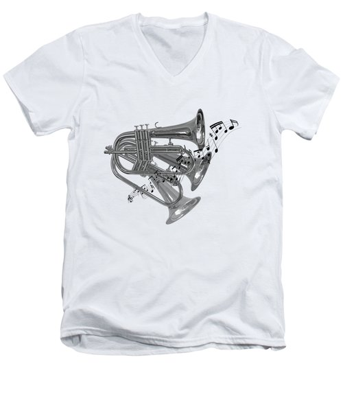 Trumpet Fanfare Black And White Men's V-Neck T-Shirt by Gill Billington