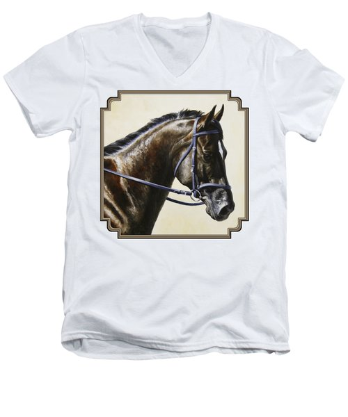 Dressage Horse - Concentration Men's V-Neck T-Shirt by Crista Forest