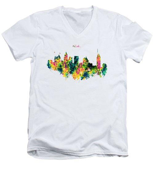 Atlanta Watercolor Skyline  Men's V-Neck T-Shirt by Marian Voicu