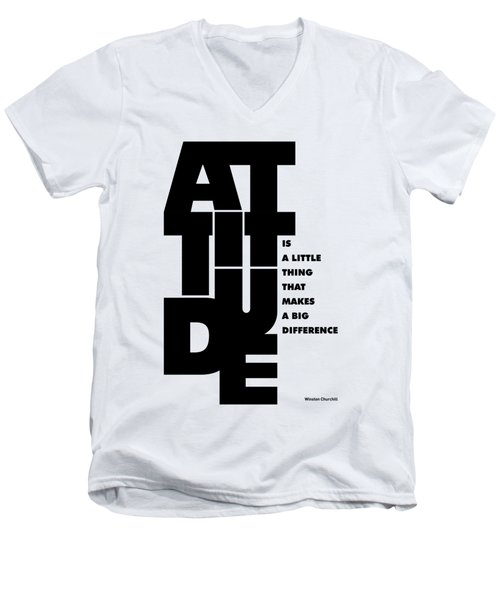 Attitude - Winston Churchill Inspirational Typographic Quote Art Poster Men's V-Neck T-Shirt by Lab No 4 - The Quotography Department