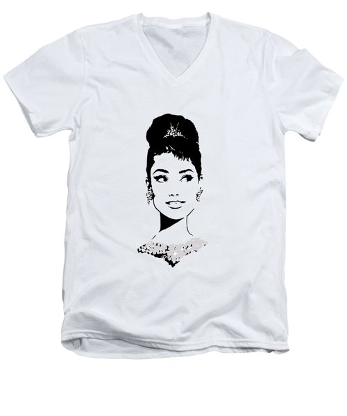 Audrey Men's V-Neck T-Shirt by Rene Flores