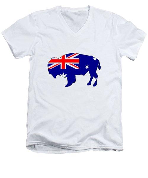 Australian Flag - Bison Men's V-Neck T-Shirt by Mordax Furittus