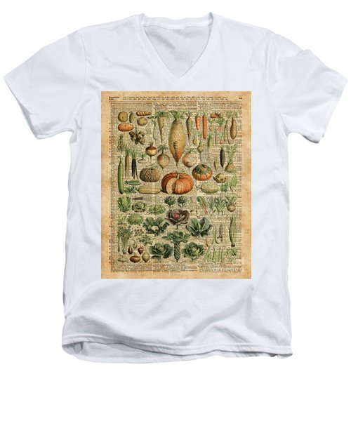 Autumn Fall Vegetables Kiche Harvest Thanksgiving Dictionary Art Vintage Cottage Chic Men's V-Neck T-Shirt by Jacob Kuch