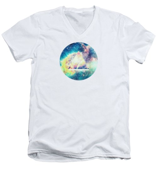 Awsome Collosal Deep Space Triangle Art Sign Men's V-Neck T-Shirt by Philipp Rietz