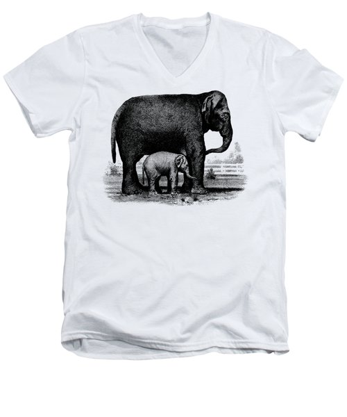 Baby Elephant T-shirt Men's V-Neck T-Shirt by Edward Fielding