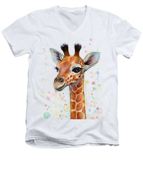 Baby Giraffe Watercolor  Men's V-Neck T-Shirt by Olga Shvartsur