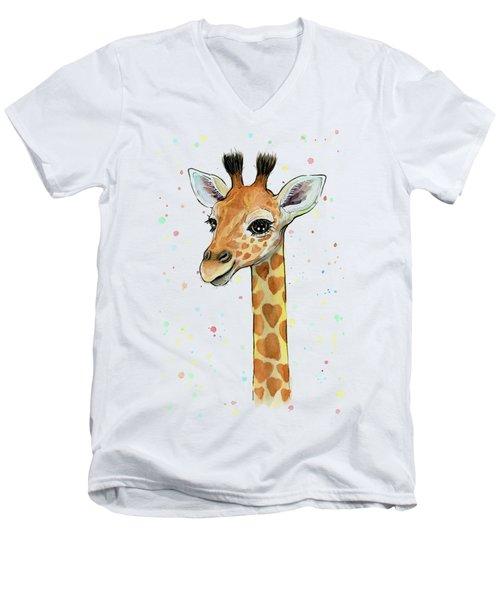 Baby Giraffe Watercolor With Heart Shaped Spots Men's V-Neck T-Shirt by Olga Shvartsur