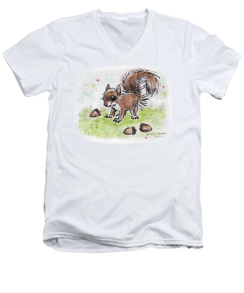 Baby Squirrel Men's V-Neck T-Shirt by Maria Bolton-Joubert