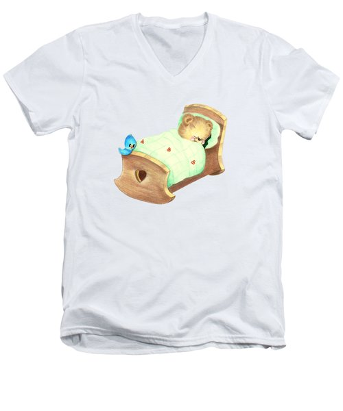 Baby Teddy Sweet Dreams Men's V-Neck T-Shirt by Linda Lindall