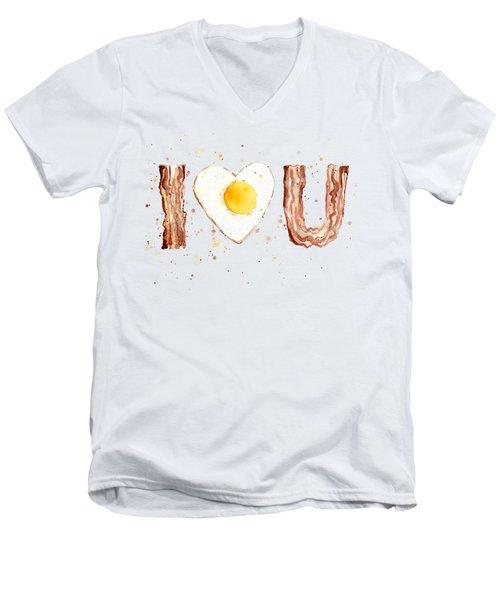 Bacon And Egg I Heart You Watercolor Men's V-Neck T-Shirt by Olga Shvartsur
