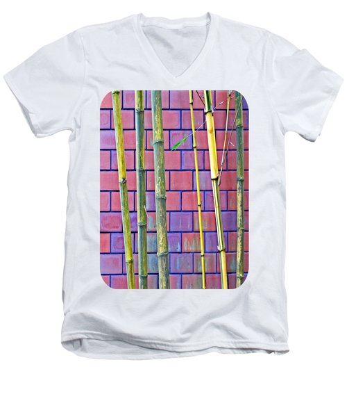 Bamboo And Brick Men's V-Neck T-Shirt by Ethna Gillespie
