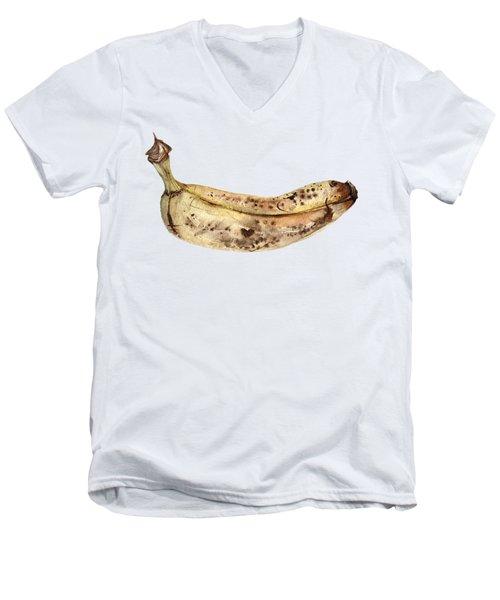 Banana Fruit Illustration Men's V-Neck T-Shirt by Anna Koliadych
