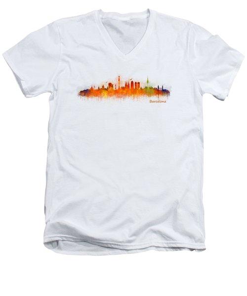 Barcelona City Skyline Hq _v3 Men's V-Neck T-Shirt by HQ Photo