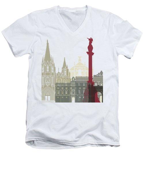 Barcelona Skyline Poster Men's V-Neck T-Shirt by Pablo Romero