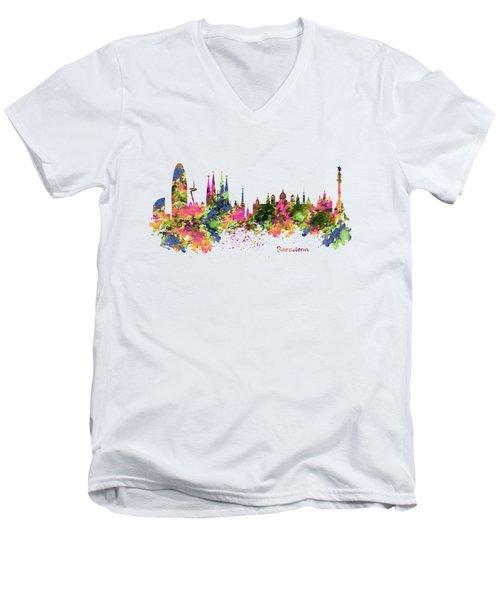 Barcelona Watercolor Skyline Men's V-Neck T-Shirt by Marian Voicu