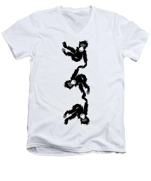 Barrel Full Of Monkeys T-shirt Men's V-Neck T-Shirt by Edward Fielding
