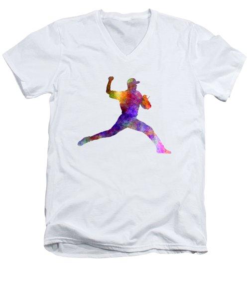 Baseball Player Throwing A Ball 01 Men's V-Neck T-Shirt by Pablo Romero