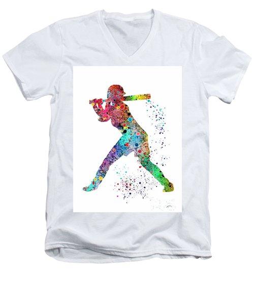 Baseball Softball Player Men's V-Neck T-Shirt by Svetla Tancheva