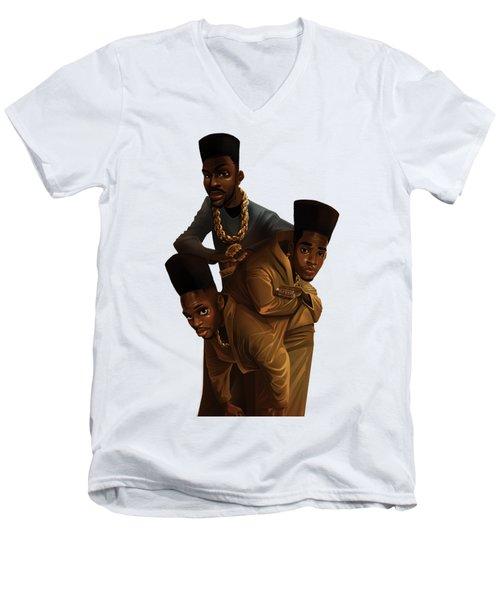 Bdk White Bg Men's V-Neck T-Shirt by Nelson Dedos Garcia