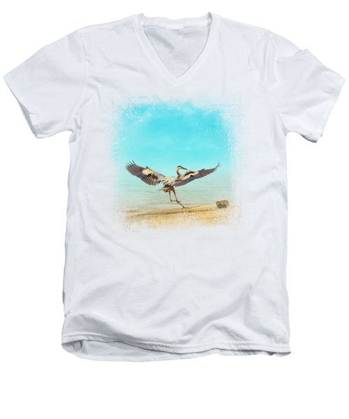 Beach Dancing Men's V-Neck T-Shirt by Jai Johnson