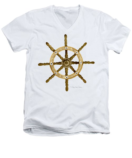 Beach House Nautical Boat Ship Anchor Vintage Men's V-Neck T-Shirt by Audrey Jeanne Roberts