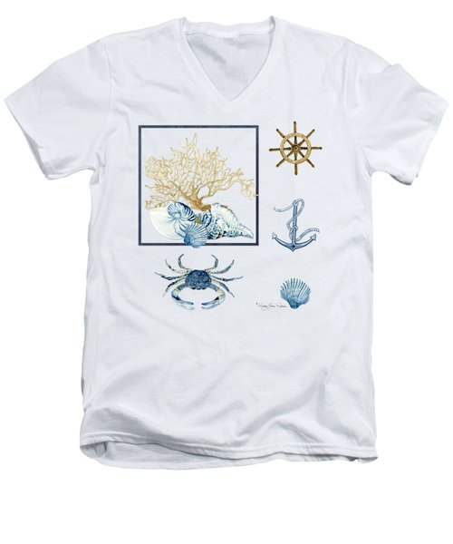 Beach House Nautical Seashells Ships Wheel Anchor N Crab Men's V-Neck T-Shirt by Audrey Jeanne Roberts
