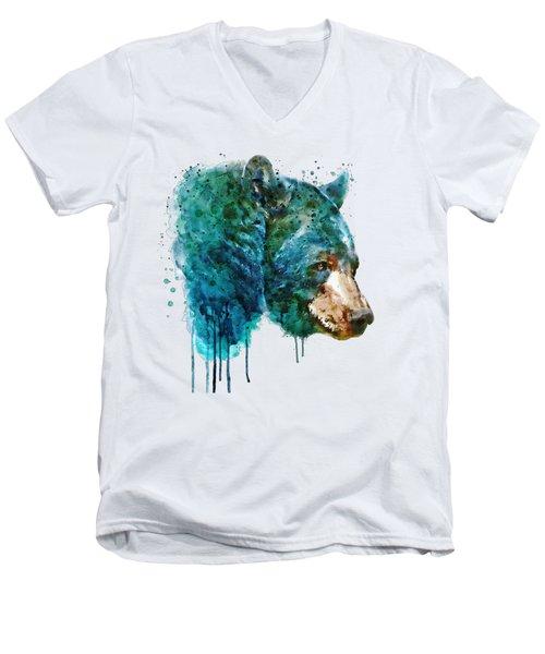 Bear Head Men's V-Neck T-Shirt by Marian Voicu