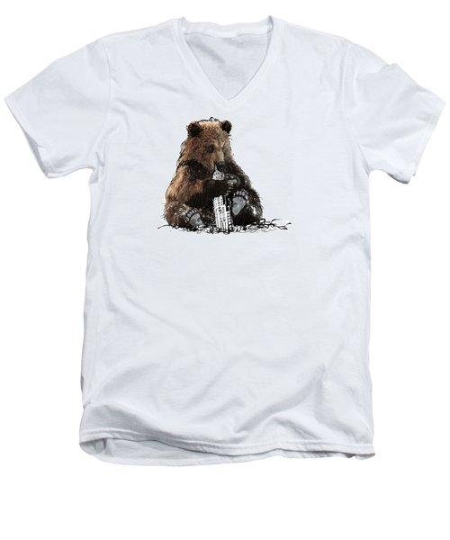 Bear Loves Ny Men's V-Neck T-Shirt by Devlin