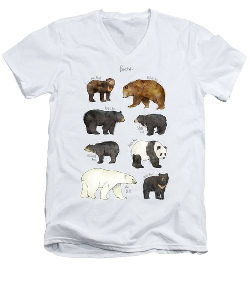 Bears Men's V-Neck T-Shirt by Amy Hamilton