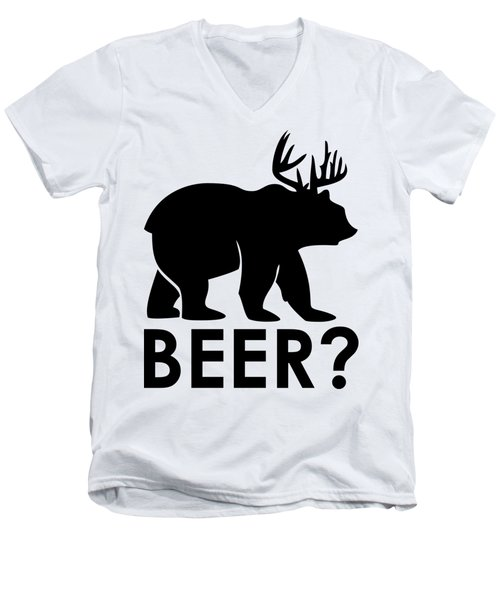 Beer? Men's V-Neck T-Shirt by Frederick Holiday
