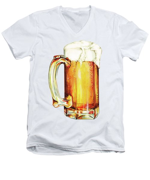 Beer Pattern Men's V-Neck T-Shirt by Kelly Gilleran