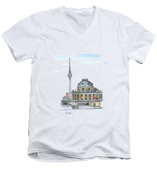 Berlin Fernsehturm Men's V-Neck T-Shirt by Petra Stephens
