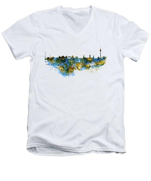 Berlin Watercolor Skyline Men's V-Neck T-Shirt by Marian Voicu