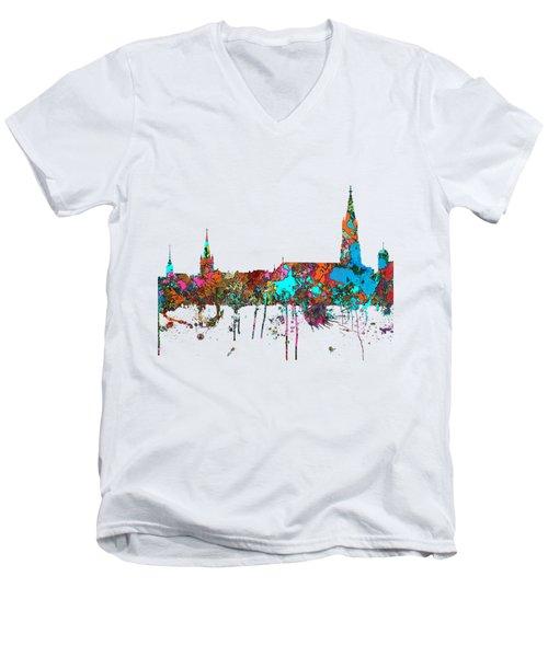 Berne Switzerland Skyline Men's V-Neck T-Shirt by Marlene Watson