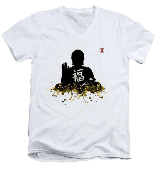 Big Buddha Blessing Men's V-Neck T-Shirt by JW Digital Art