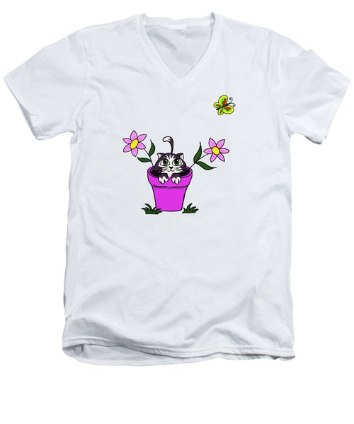 Big Eyed Kitten In Flower Pot Men's V-Neck T-Shirt by Lorraine Kelly