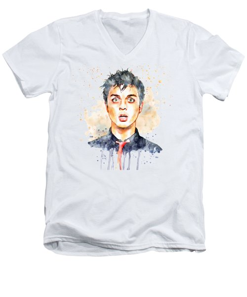 Billie Joe Armstrong Men's V-Neck T-Shirt by Marian Voicu