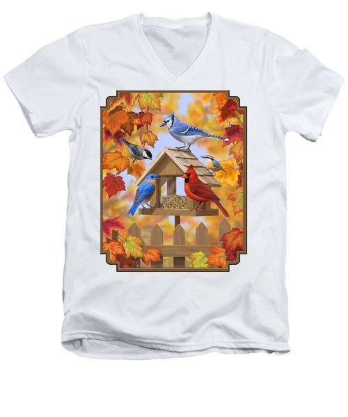 Bird Painting - Autumn Aquaintances Men's V-Neck T-Shirt by Crista Forest