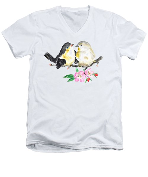 Birds And Apple Blossom Men's V-Neck T-Shirt by Color Color