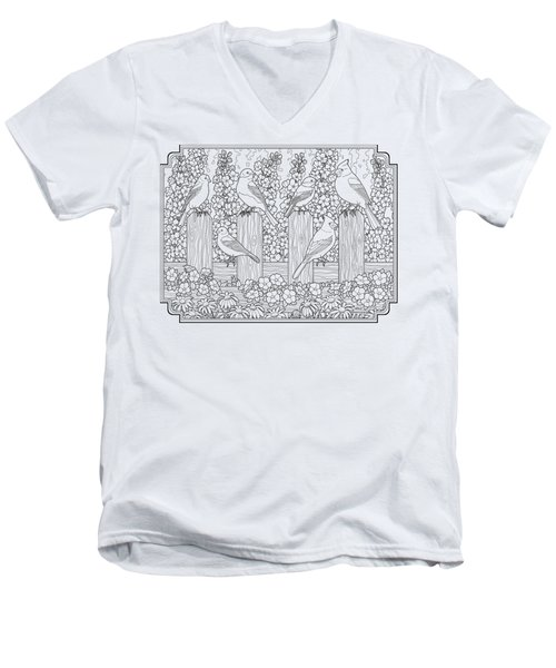 Birds In Flower Garden Coloring Page Men's V-Neck T-Shirt by Crista Forest
