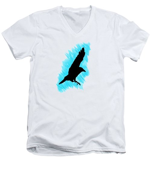 Black And Blue Men's V-Neck T-Shirt by Linsey Williams