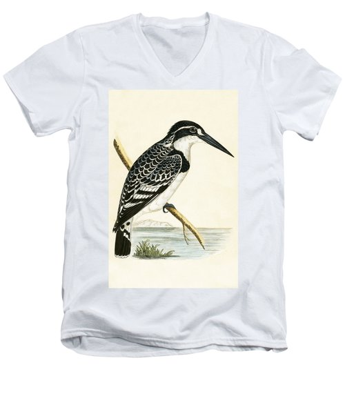 Black And White Kingfisher Men's V-Neck T-Shirt by English School