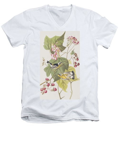 Black And Yellow Warblers Men's V-Neck T-Shirt by John James Audubon