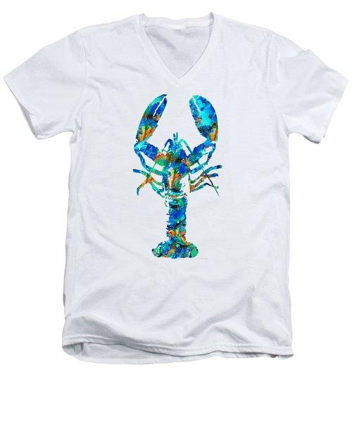 Blue Lobster Art By Sharon Cummings Men's V-Neck T-Shirt by Sharon Cummings